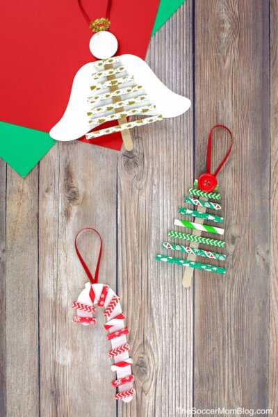 3 different Christmas ornaments made with paper straws