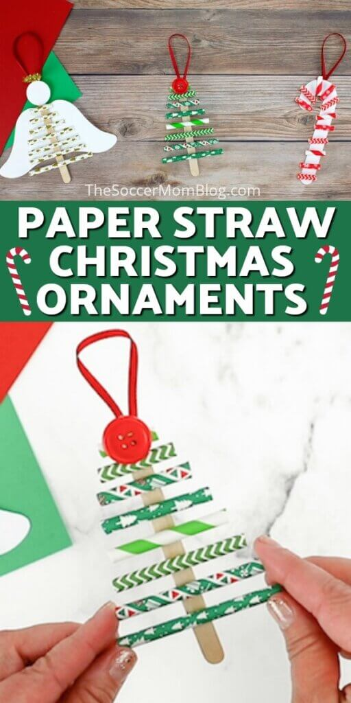 Christmas ornaments made out of paper straws