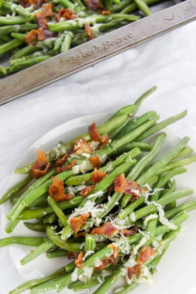 parmesan green beans served with bacon
