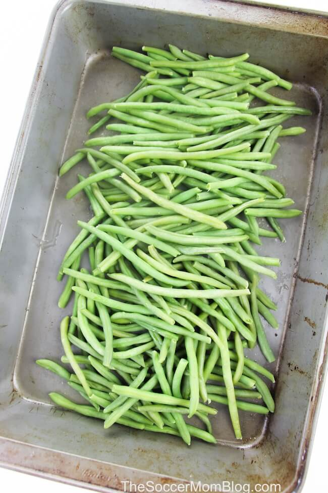 blanched green beans in baking pan