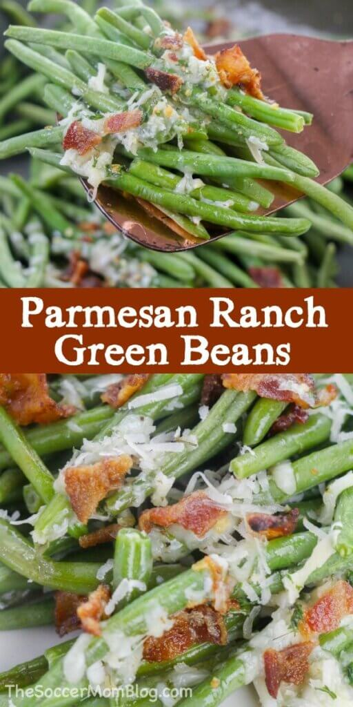 Tangy ranch, light parmesan cheese, and crisp bacon make these Ranch Green Beans the best side dish you'll have this year!