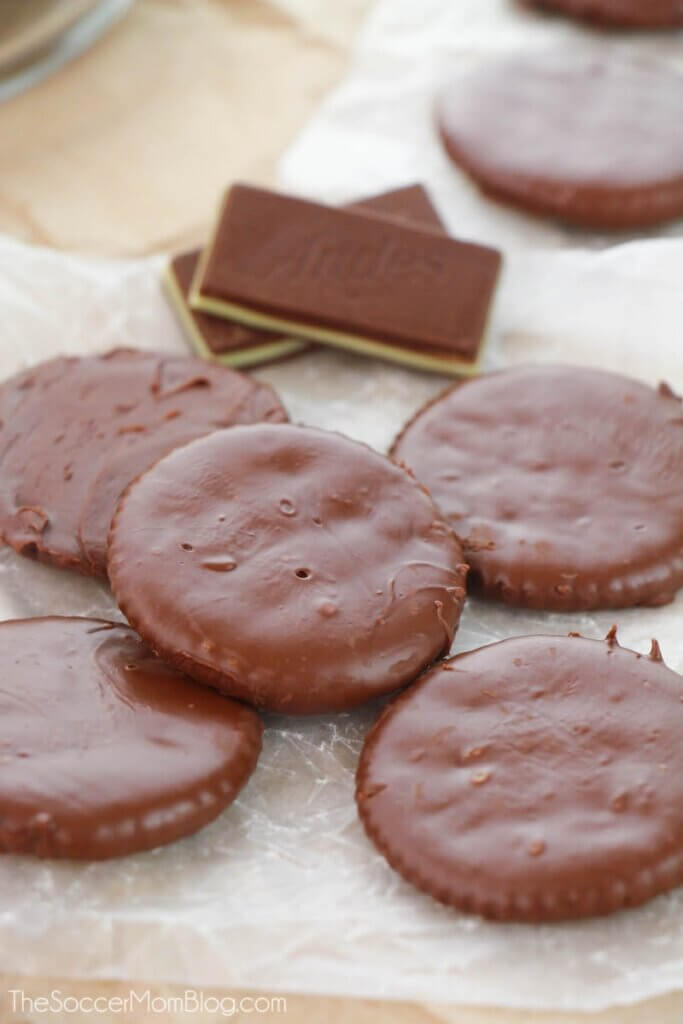 chocolate covered Ritz Crackers that taste like Thin Mint cookies