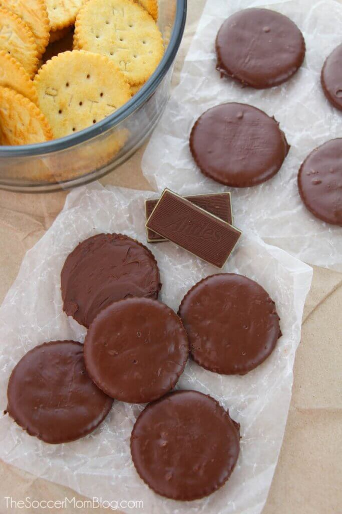 homemade Thin Mints made with Ritz crackers