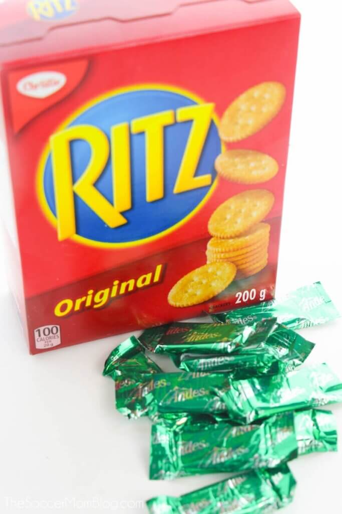 box of Ritz crackers and Andes chocolate mint thins