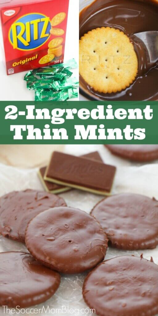 homemade thin mints made with Ritz crackers and Andes mints