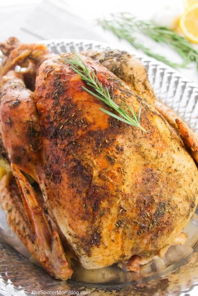 oven roasted turkey on silver platter