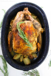 oven roasted turkey in pan