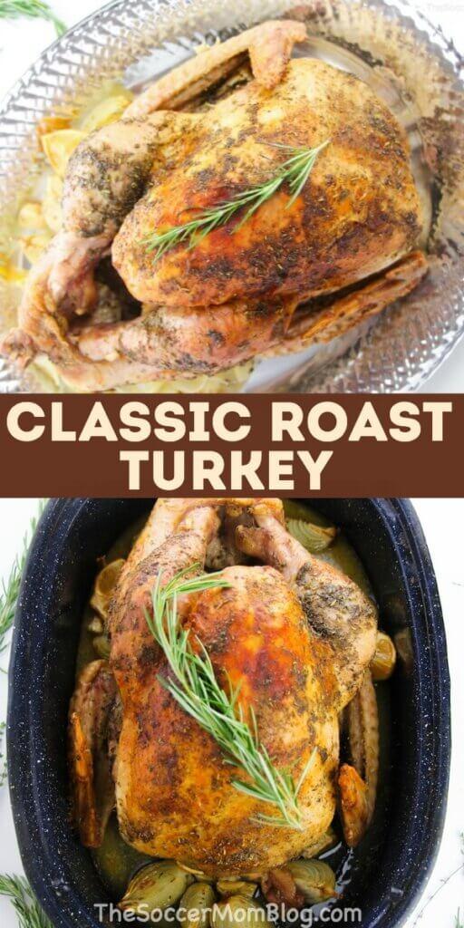 golden brown roast turkey in pan