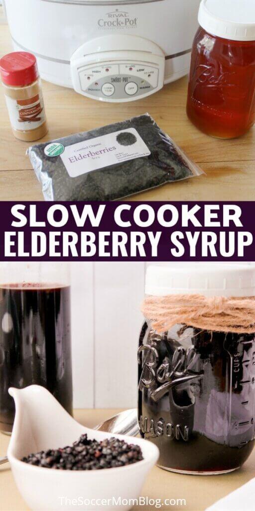 crockpot and elderberries, syrup in mason jar