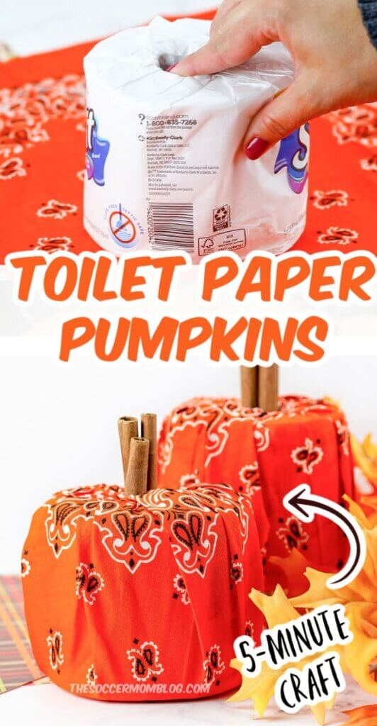 making a decorative pumpkin with toilet paper roll and bandana