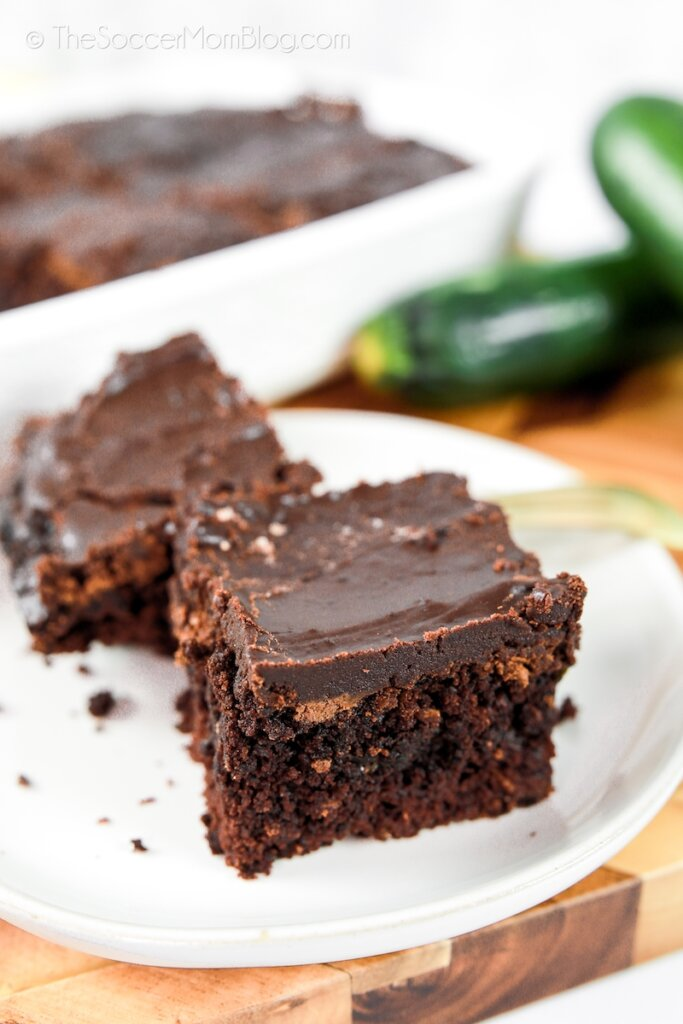plate of brownies made with zucchini