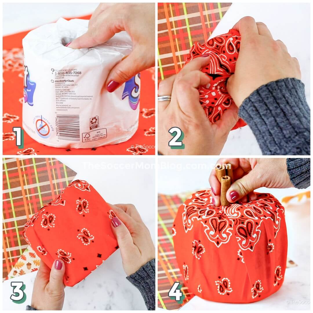 step by step photo collage showing how to make pumpkins with toilet paper rolls