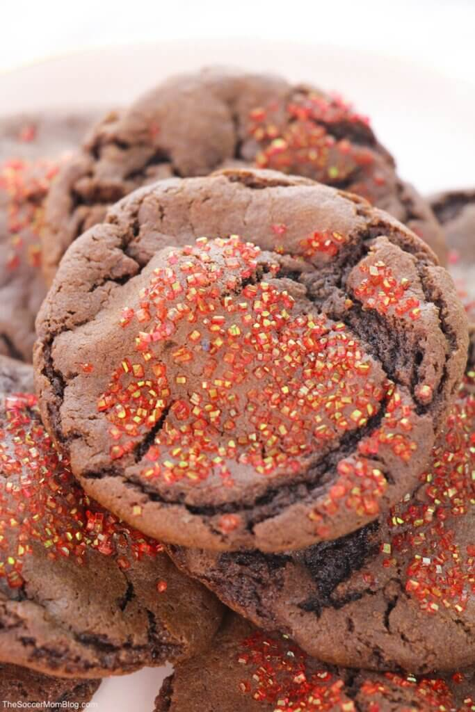 stack of rich chocolate cherry cake mix cookies