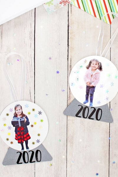 paper snow globe ornaments with child's photo
