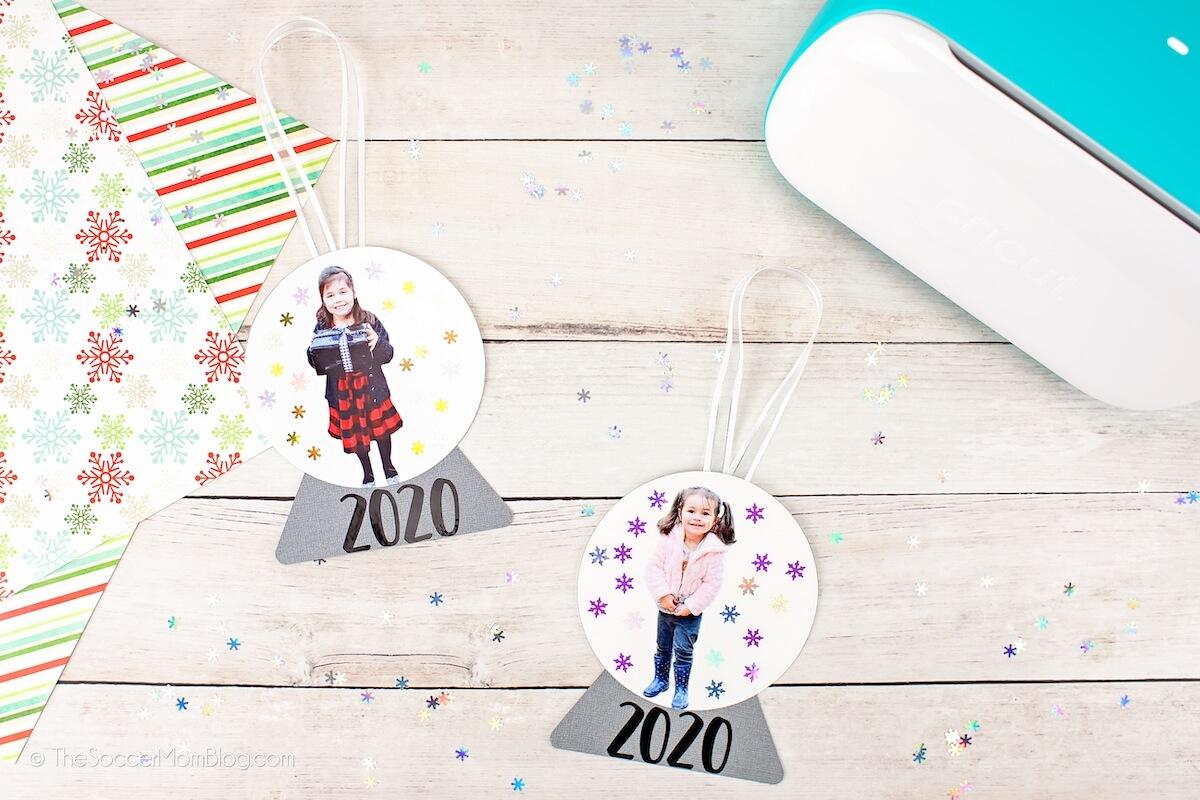 photo snow globe ornaments with Cricut Joy