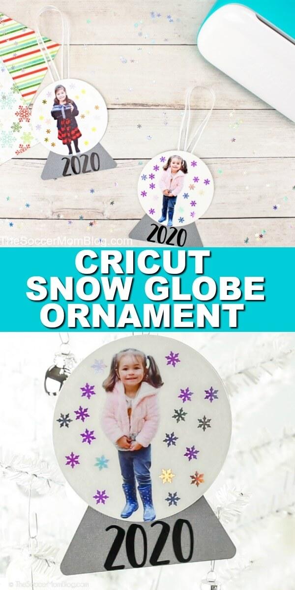 paper snow globe ornament with child's photo