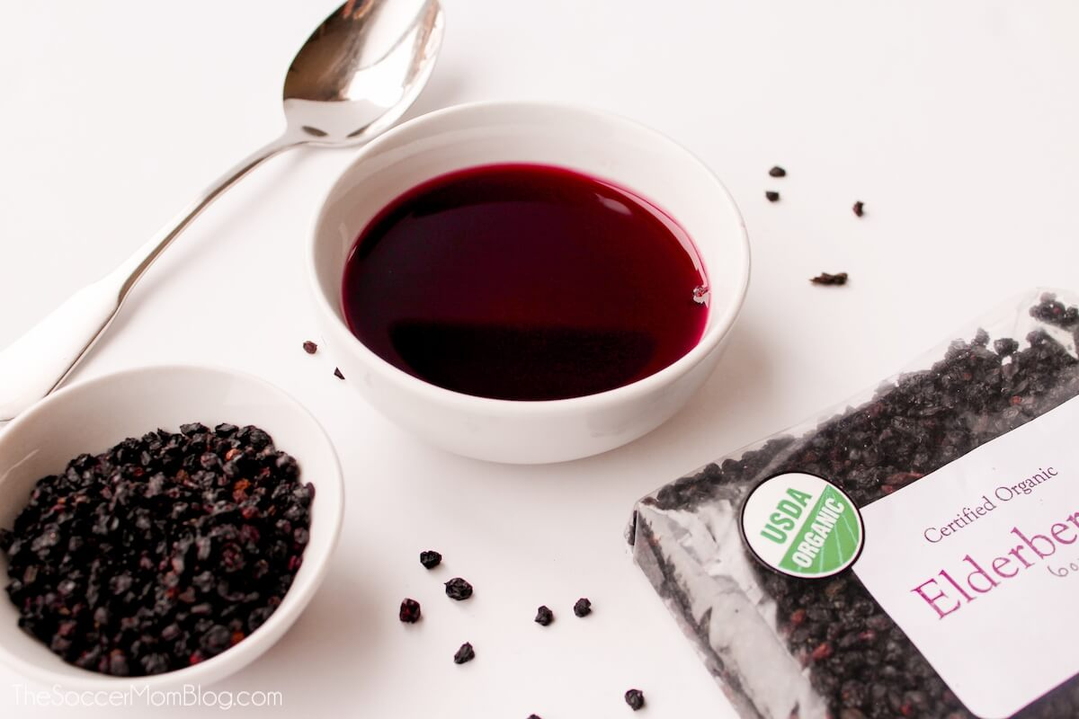 elderberries and homemade syrup