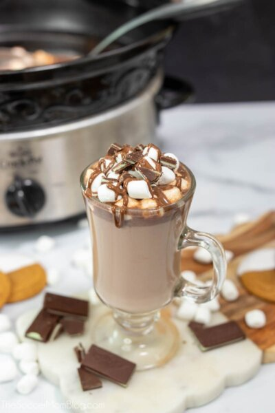 hot chocolate in mug and crockpot