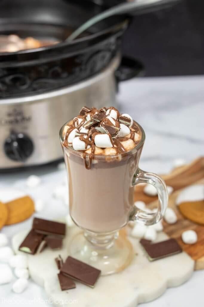 heiße Schokolade in Tasse und Topf