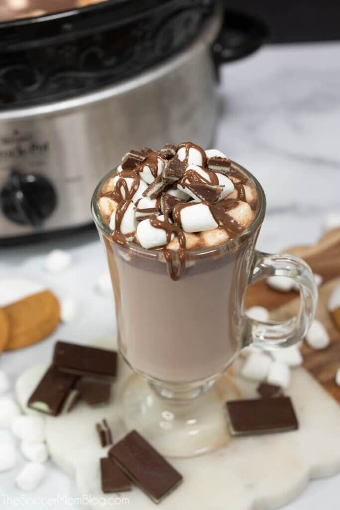 slow cooker hot chocolate in mug and crockpot