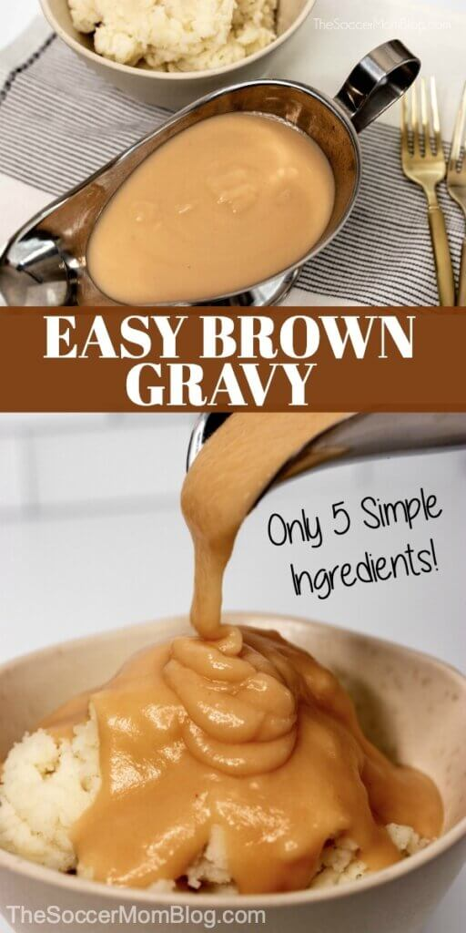 pouring brown gravy on mashed potatoes
