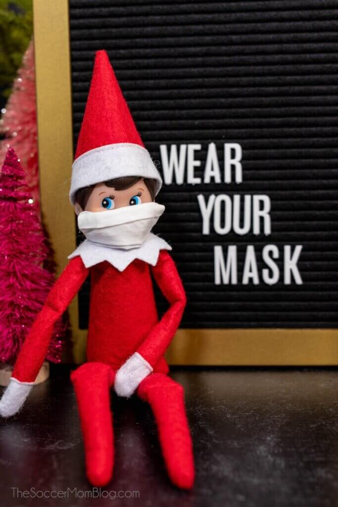 Elf on the Shelf wearing a face mask