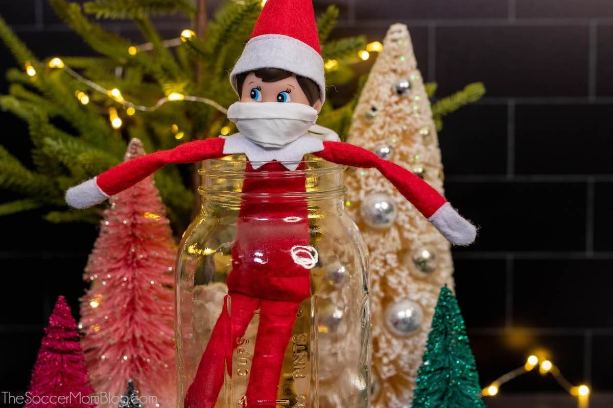 Elf on the Shelf wearing face mask