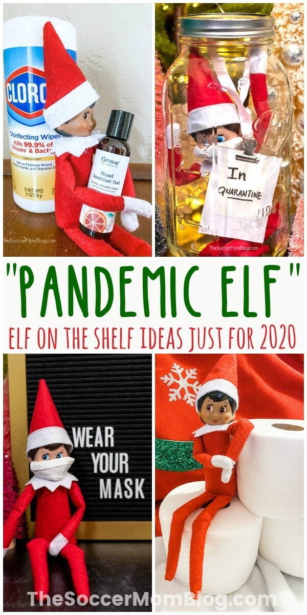 collage of Elf on the Shelf ideas for 202 and COVID