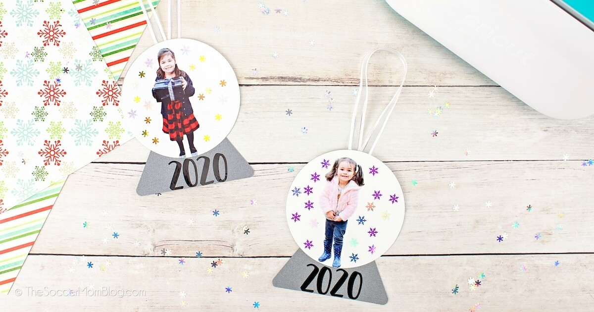 paper snow globe ornaments with kids photo