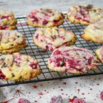 chocolate chip cookies with raspberries baked in