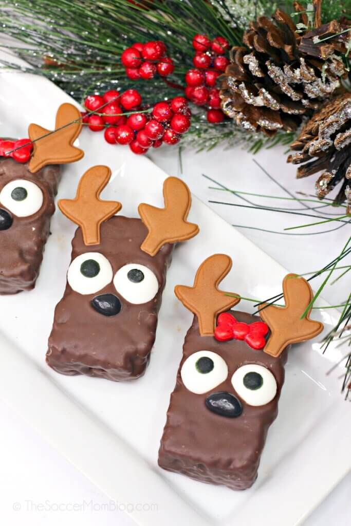 rice krispie treats made to look like reindeer