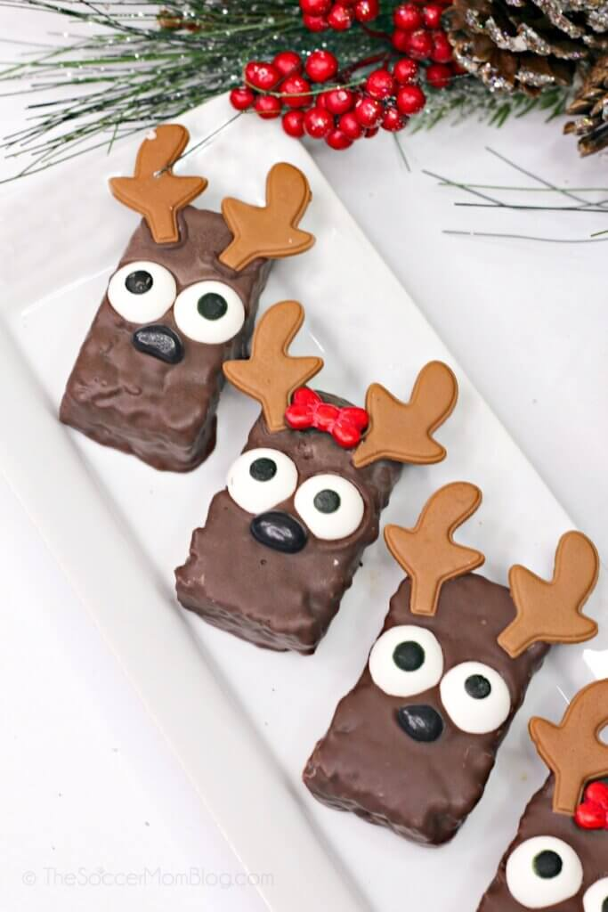reindeer rice krispie treats on white plate