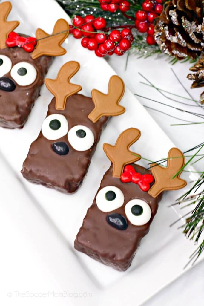 Super cute with only simple store-bought ingredients, these Reindeer Rice Krispie Treats are just as fun to make as they are to eat!