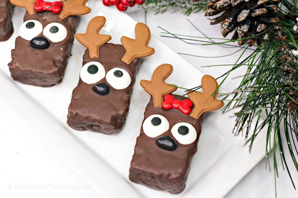 Christmas reindeer rice krispie treats