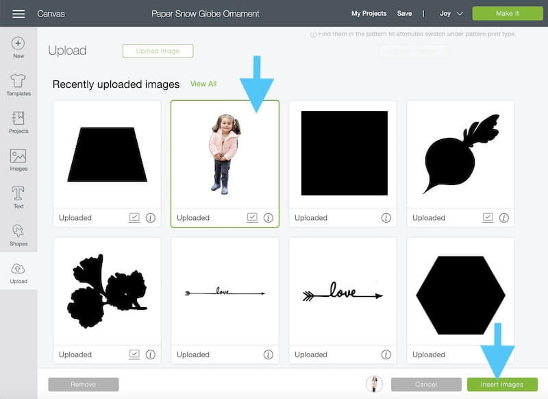 inserting a custom image in Cricut Design Space