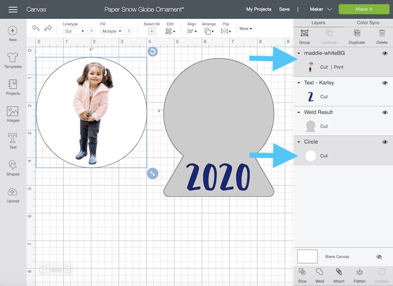 highlighting image within Cricut Design Space canvas