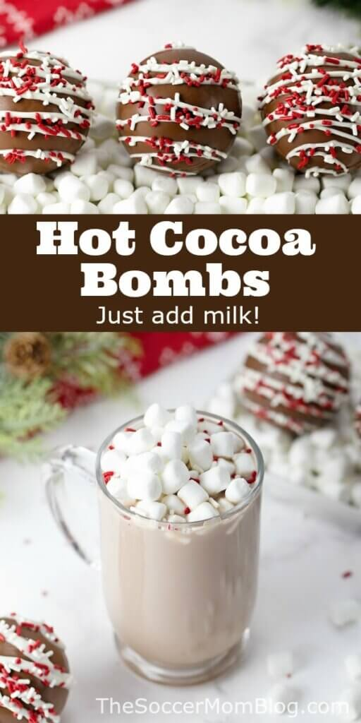 hot cocoa bomb and a mug of hot chocolate