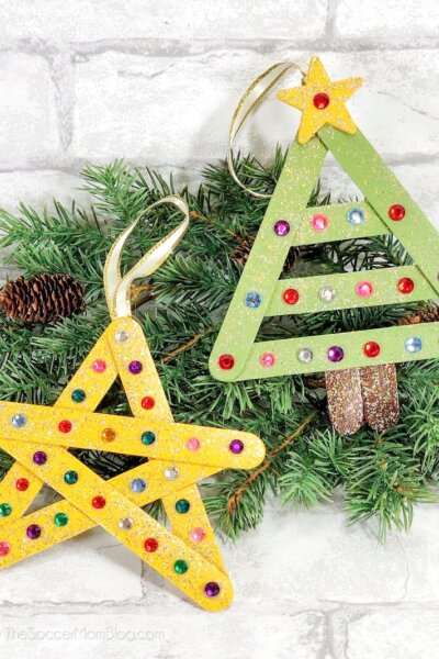 Craft stick Christmas ornaments: Christmas tree and star