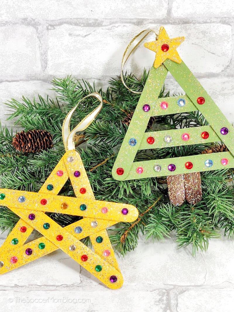 Craft stick Christmas ornaments: Christmas tree and star