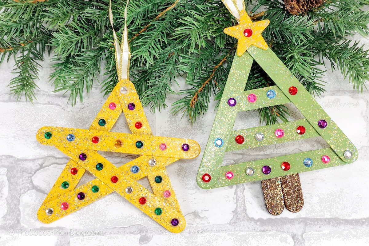 craft stick Christmas tree and star ornaments