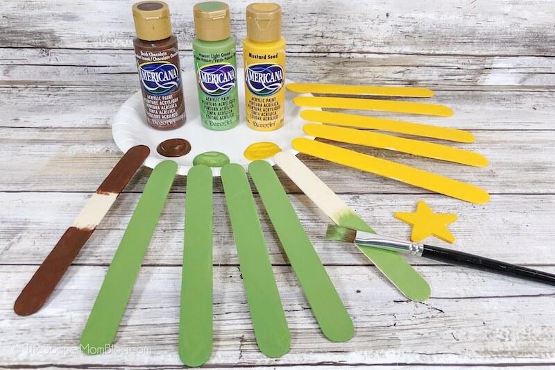 Malerei Handwerk Sticks grün und gelb
