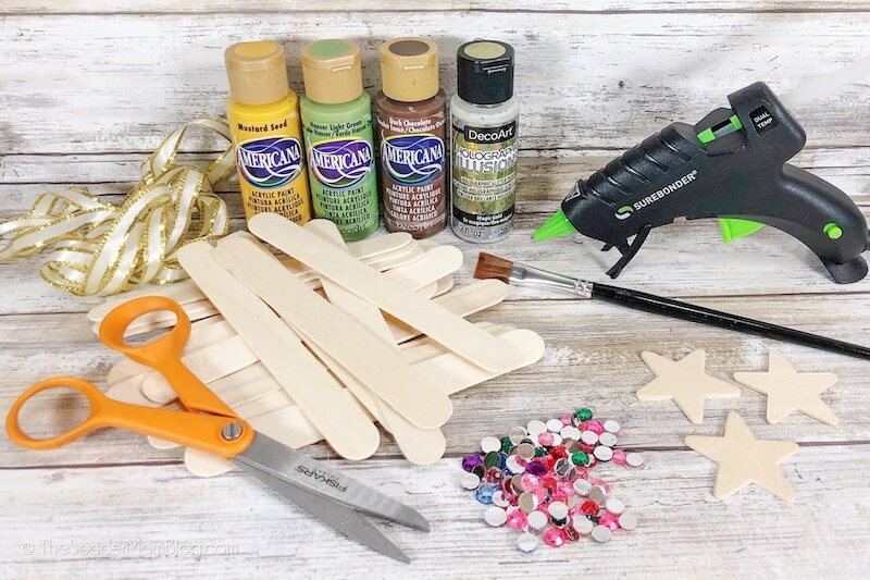 supplies needed to make popsicle stick Christmas ornaments