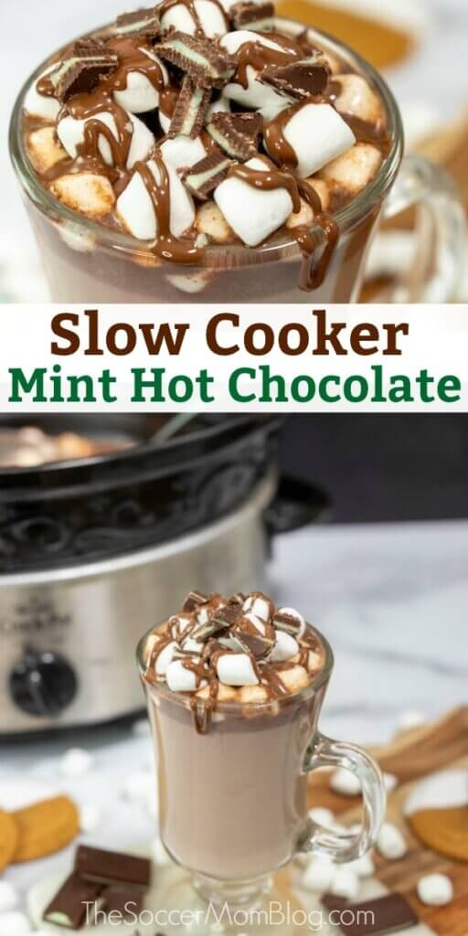 slow cooker mint hot chocolate topped with marshmallows