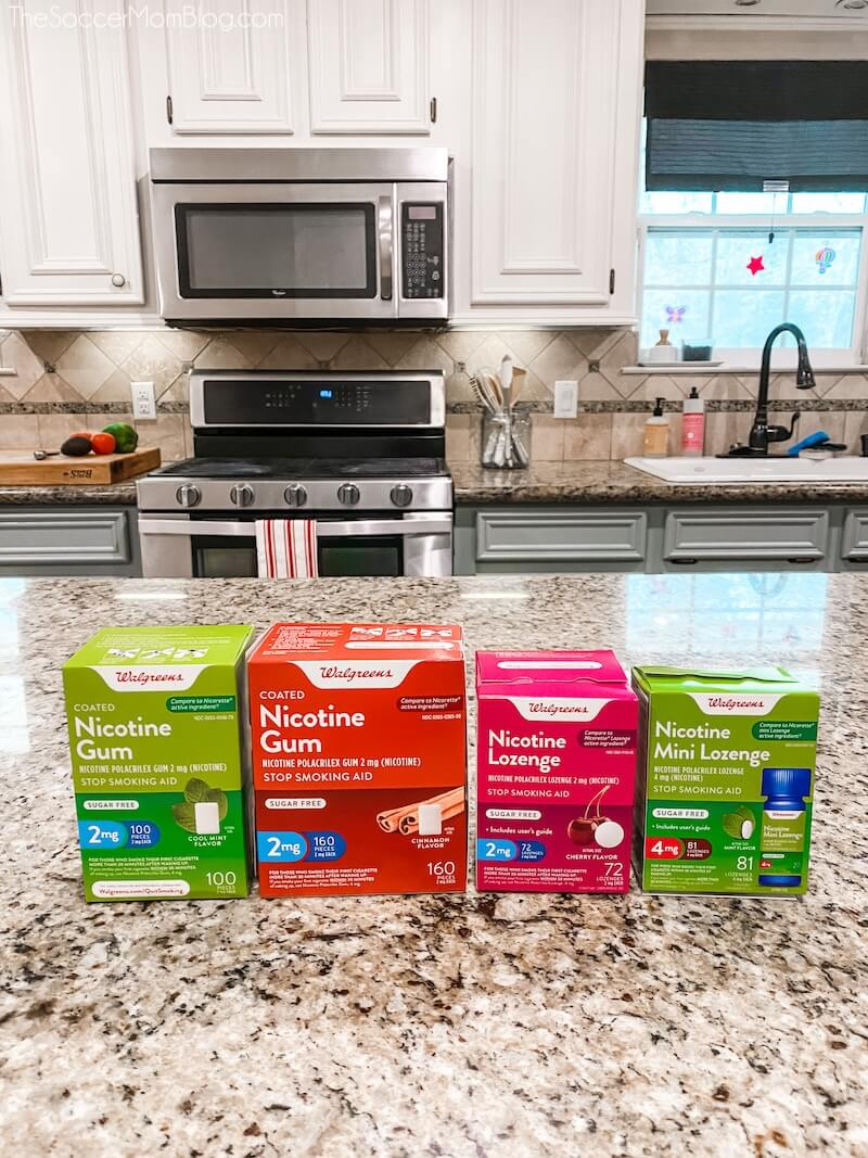 Walgreens Smoking Cessation products on kitchen counter
