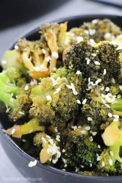Chinese style broccoli with garlic and sesame seeds