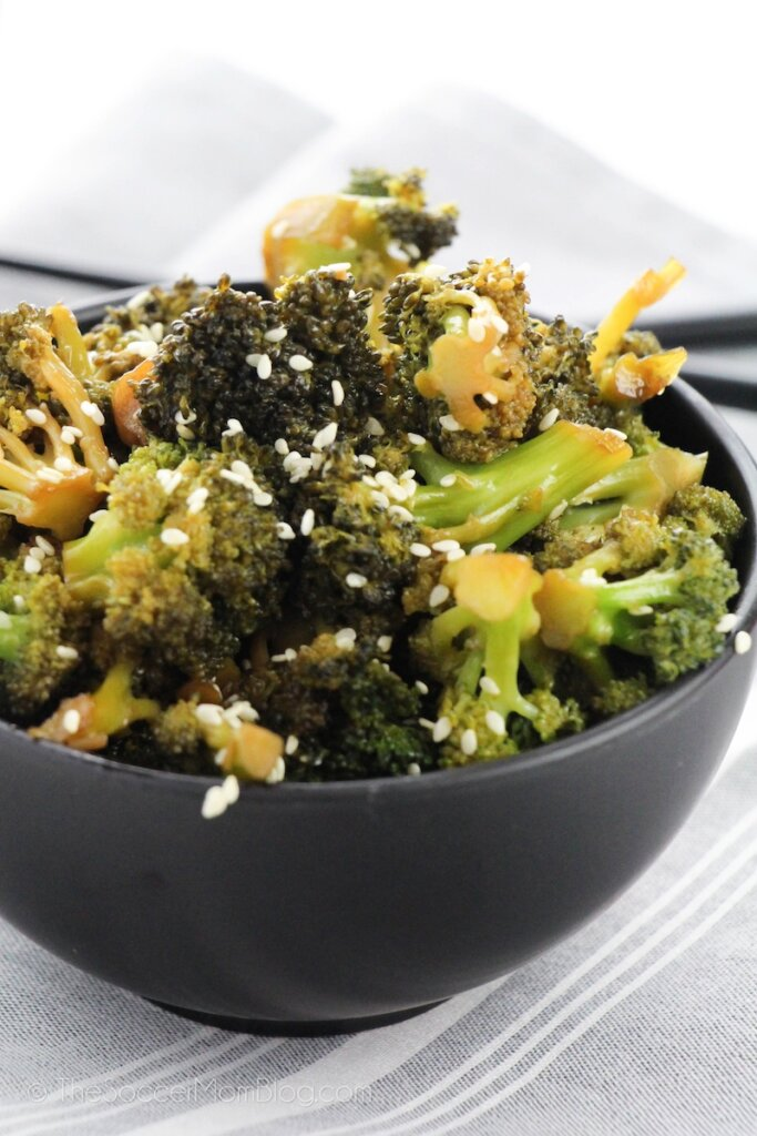 bowl of Chinese garlic broccoli with sesame seeds
