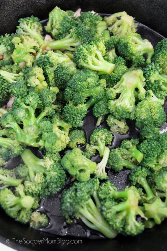 sautéing broccoli in iron skillet