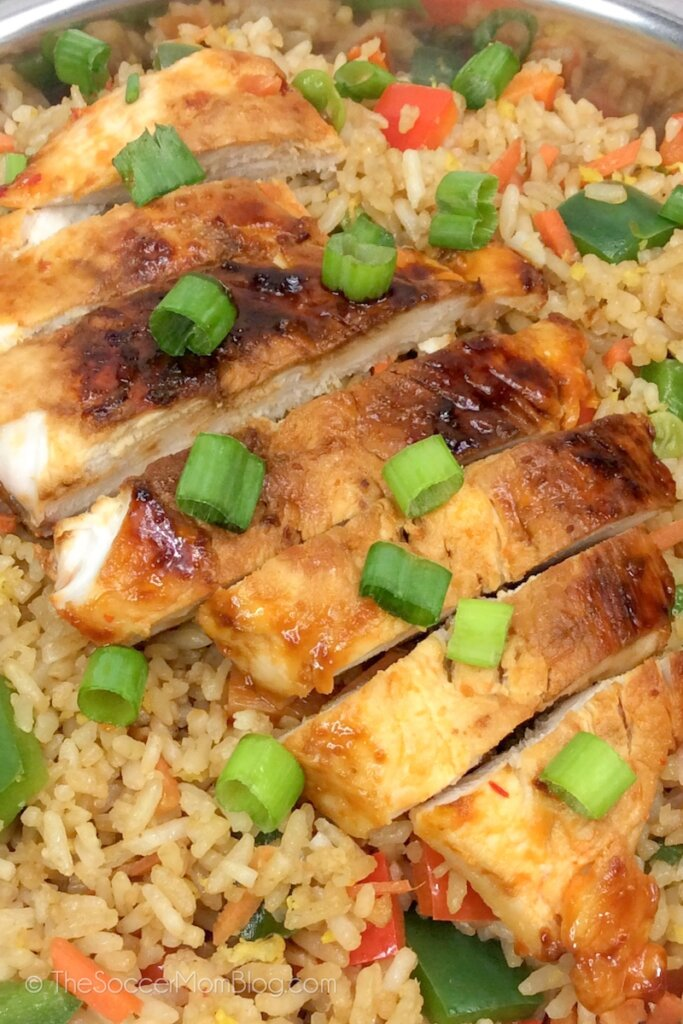 glazed teriyaki chicken served on a bed of vegetable fried rice