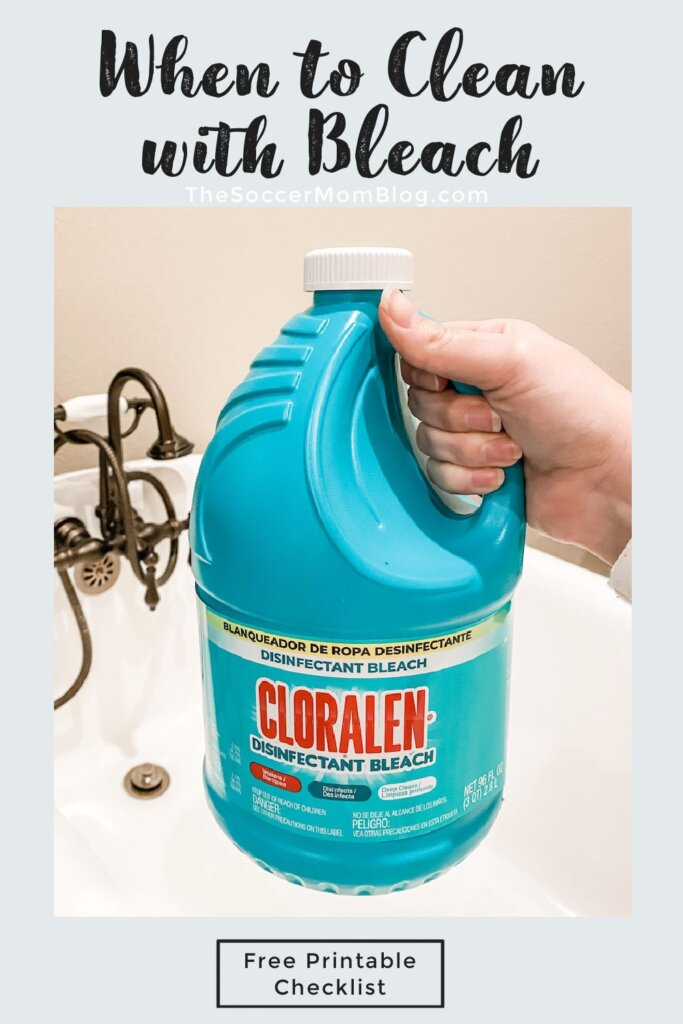 "holding a jug of bleach in front of bathtub ""When to Clean with Bleach"""