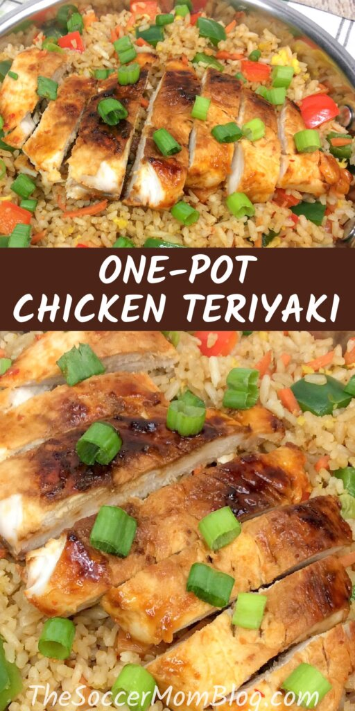 "two photos of grilled teriyaki chicken over fried rice; text overlay ""One-Pot Chicken Teriyaki"""
